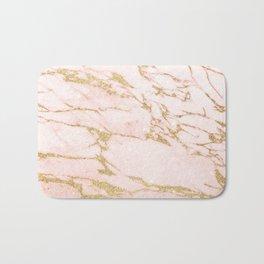 Blush pink abstract gold glitter marble Bath Mat