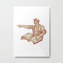 Activist Union Worker Pointing Book Drawing Metal Print