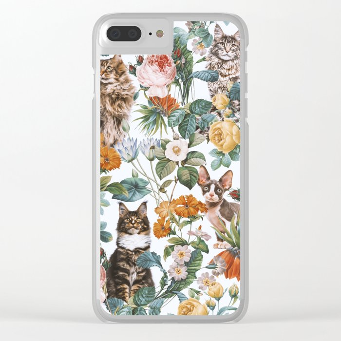 Cat and Floral Pattern III Clear iPhone Case