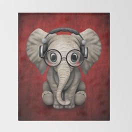 Cute Baby Elephant Dj Wearing Headphones and Glasses on Red Throw Blanket