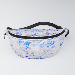 blue and white heart shape with purple background Fanny Pack