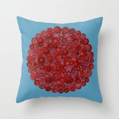 Red on Blue Throw Pillow