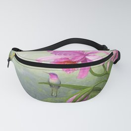12,000pixel-500dpi - Hummingbird Perched On The Orchid Plant - Martin Johnson Heade Fanny Pack