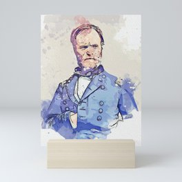 Gen. William T. Sherman - Civil War watercolor by Ahmet Asar Mini Art Print