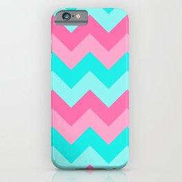 Hot Pink Turquoise Aqua Blue Chevron Zigzag Pattern Print iPhone Case