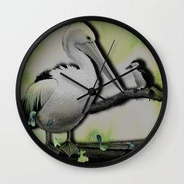 Gossiping Pelican Wall Clock