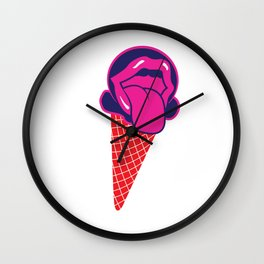 Funny Licking Ice Cream Graphic T-shirt Wall Clock