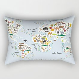 Cartoon animal world map for children and kids, Animals from all over the world, back to school Rectangular Pillow