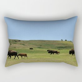 American Buffalo Walking on Prairie of North America Panorama Rectangular Pillow
