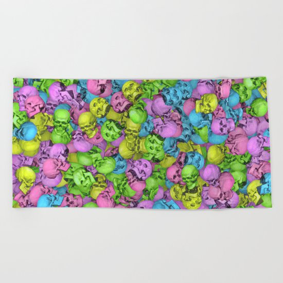 Neon skulls Beach Towel