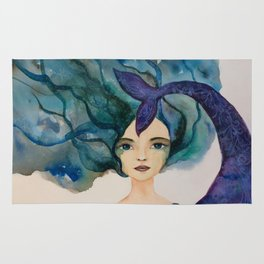Watercolor Mermaid Blue Green Hair Rug