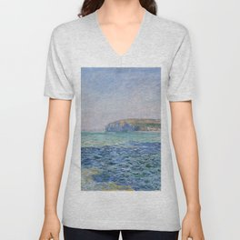 Shadows on the Sea at Pourville by Claude Monet Unisex V-Neck