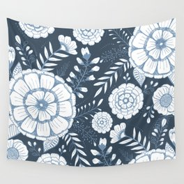 Blue Floral Wall Tapestry