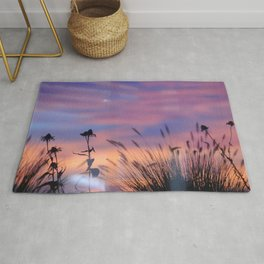 LOOK OUTSIDE - Flowers & Sunset #1 #art #society6 Rug