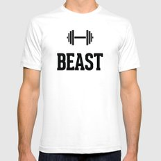 Beast Gym Dumbbell SMALL White Mens Fitted Tee