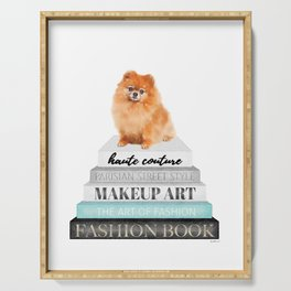 Pom, pomeranian, Books, Fashion books, Teal, Fashion, Fashion art, fashion poster Serving Tray