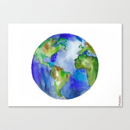 It's a Vibrant World Watercolor Globe Painting Canvas Print