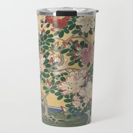 Blooming azalea in blue pot - Ohara Koson (1920 - 1930) Travel Mug