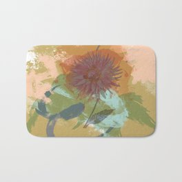 Autumnal Brushstrokes, Abstract Floral Art Bath Mat