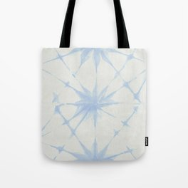 Shibori Starburst Sky Blue on Lunar Gray Tote Bag