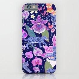 Blue Leopards in an Orchid Garden (dark background) iPhone Case