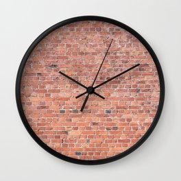 Plain Old Orange Red London Brick Wall Wall Clock