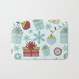 Merry Christmas-Festive gift and Christmas Bowls X-Mas Pattern Bath Mat