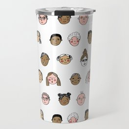 Faces people illustration hand drawn different people all shapes and sizes pattern Travel Mug