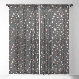 Black & Rose Gold Star Pattern Sheer Curtain