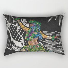 Polynesian Hula Dancer Tapa Print Rectangular Pillow