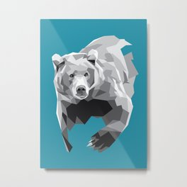 Geometric Grey Bear Metal Print