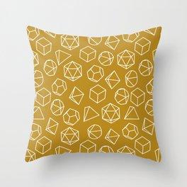 Dice Pattern in Mustard Throw Pillow