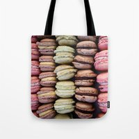 macarons Tote Bags featuring Macarons by Tanya Harrison Photography