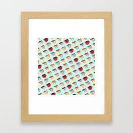Cute smiling mugs pattern Framed Art Print
