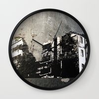 sticker Wall Clocks featuring Sticker City by Shy Photog