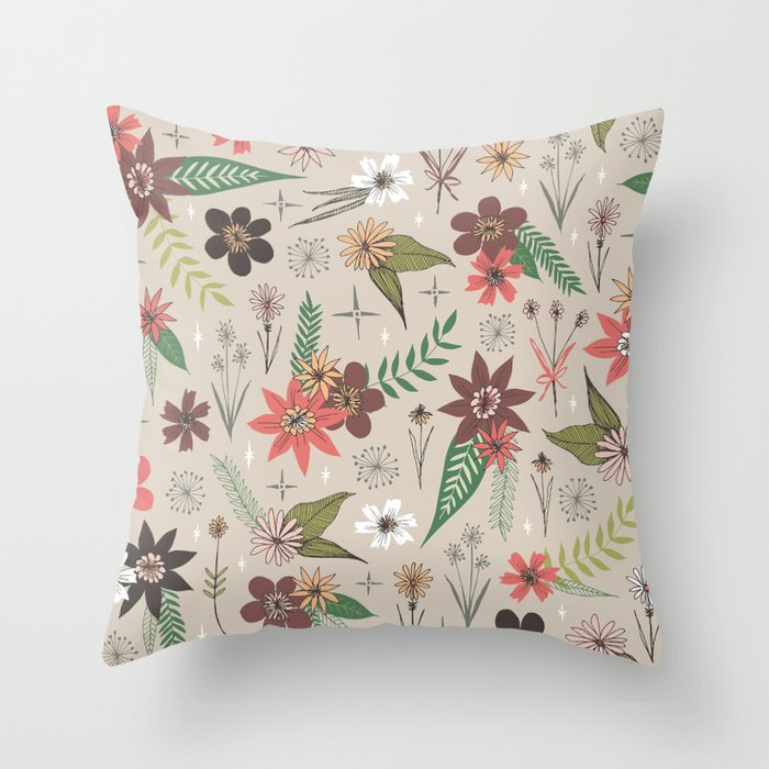 floral pattern in fall colors Throw Pillow