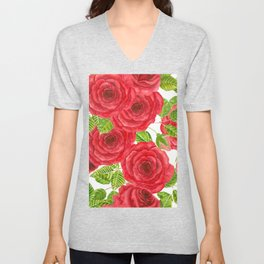 Red watercolor roses with leaves and buds pattern Unisex V-Neck