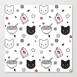 Strawberry Ramen Cat Canvas Print
