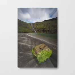 green moss covered rock on black sand in Saksun at the Faroe Islands - Landscape Photography Metal Print