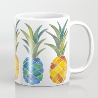 pineapples Mugs featuring Pineapples by Cat Coquillette