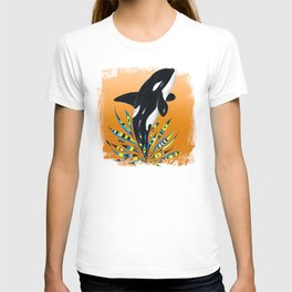 Cute Orca Whale Orange Doodle Splash T-shirt