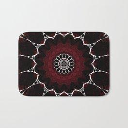 Deep Ruby Red Mandala Design Bath Mat