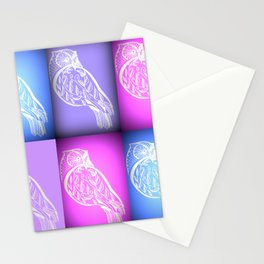 pink and blue and purple owls Stationery Cards