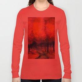 Nighttime Autumn Landscape Nature Art Long Sleeve T-shirt