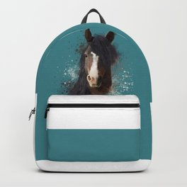 Black Brown Horse Artwork Backpack