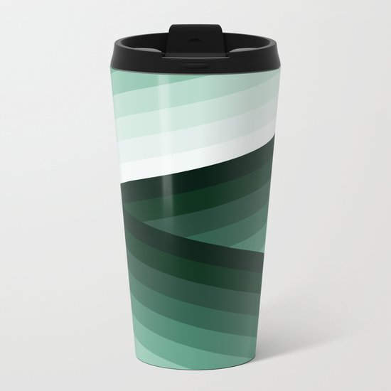 Serene Contemporary Green Ombre Design Metal Travel Mug