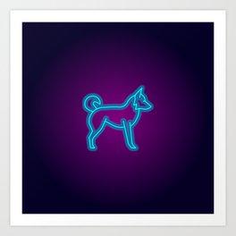 NEON BORDER COLLIE DOG Art Print