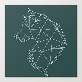 Geometric Wolf (White on Slate) Canvas Print