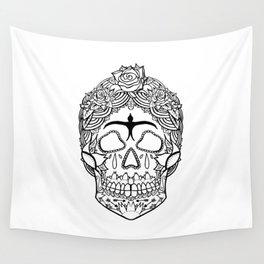 Frida Kahlo Sugar Skull black and white Wall Tapestry