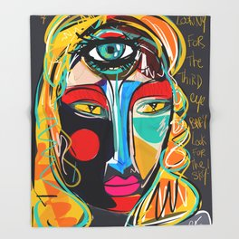 Looking for the third eye street art graffiti Throw Blanket